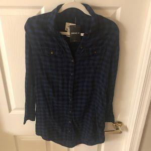 NWT black and blue plaid shirt dress size small